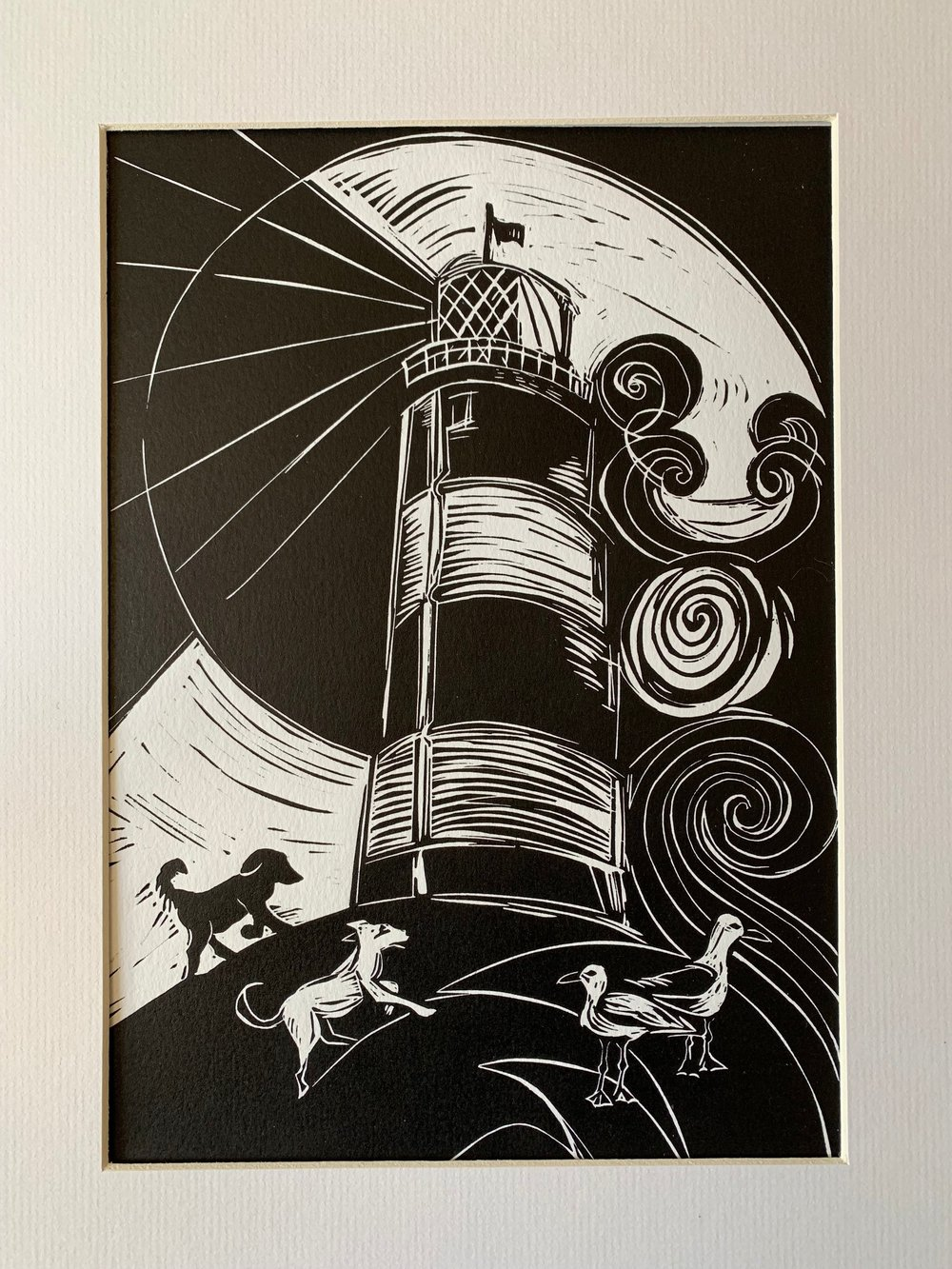 To The Lighthouse, linocut print in black