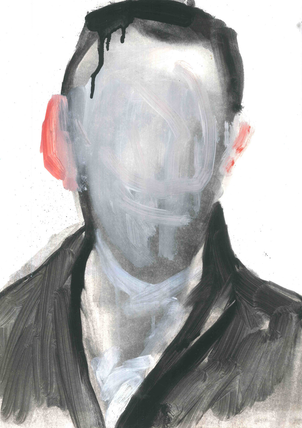 'Self-Portrait'Oil on Canson Mixed Media Paper - For Sale