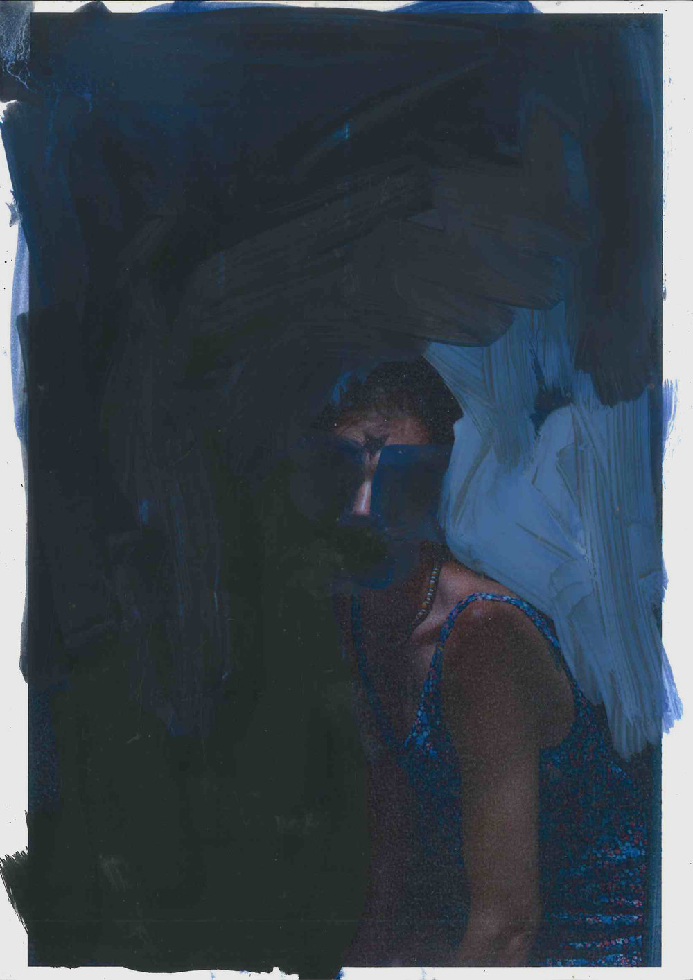 Study For False Anima 1:2, oil on paper with photographic element