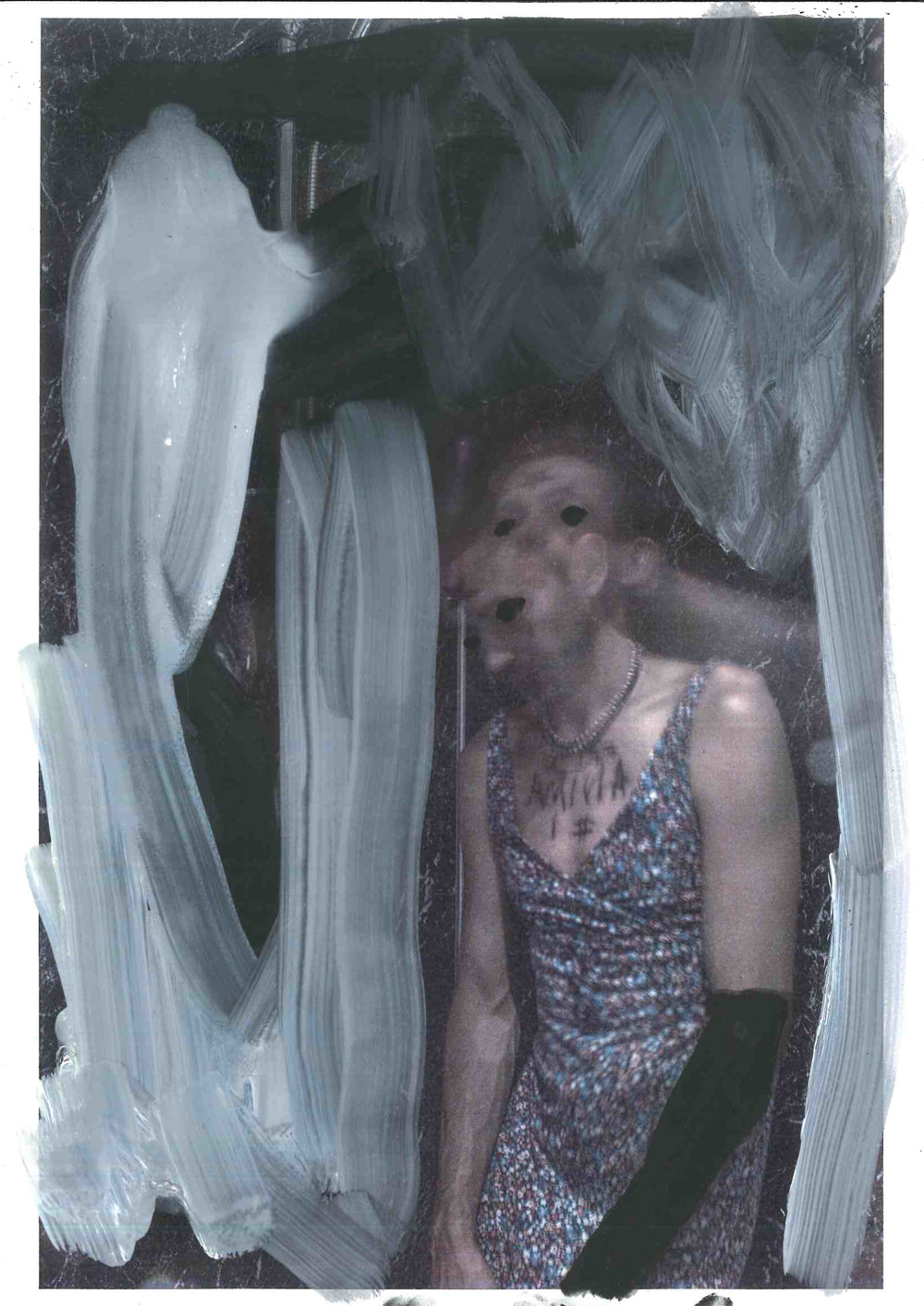 Study For False Anima 1:3, oil on paper with photographic element