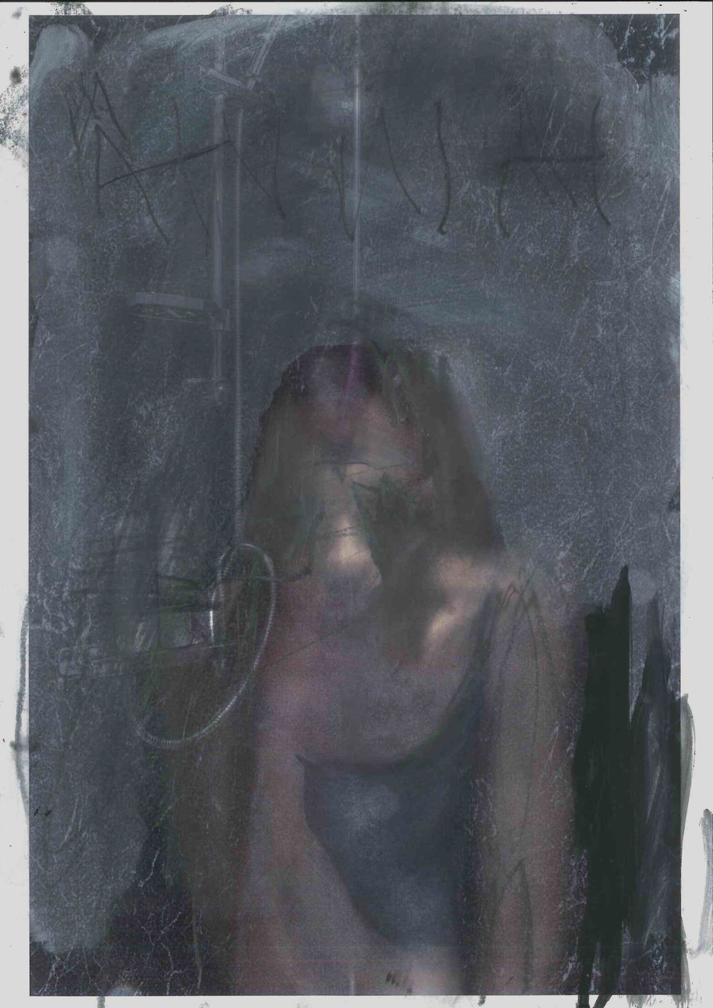 Study For Anima 1:1, oil on paper with photographic element