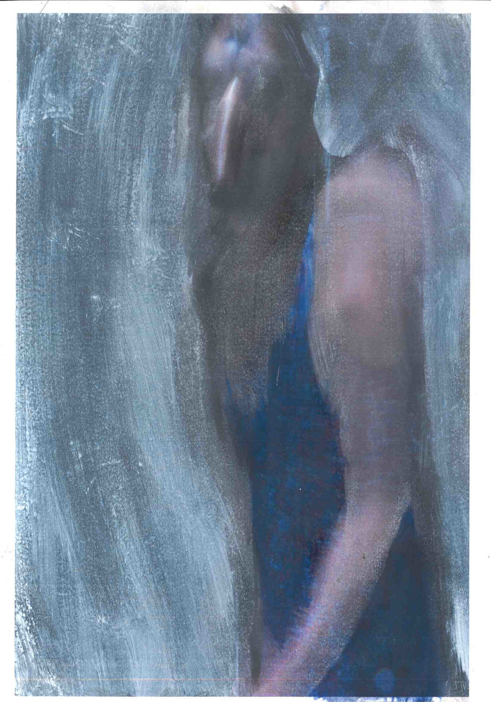 study for false anima 1:5, oil on paper with photographic element