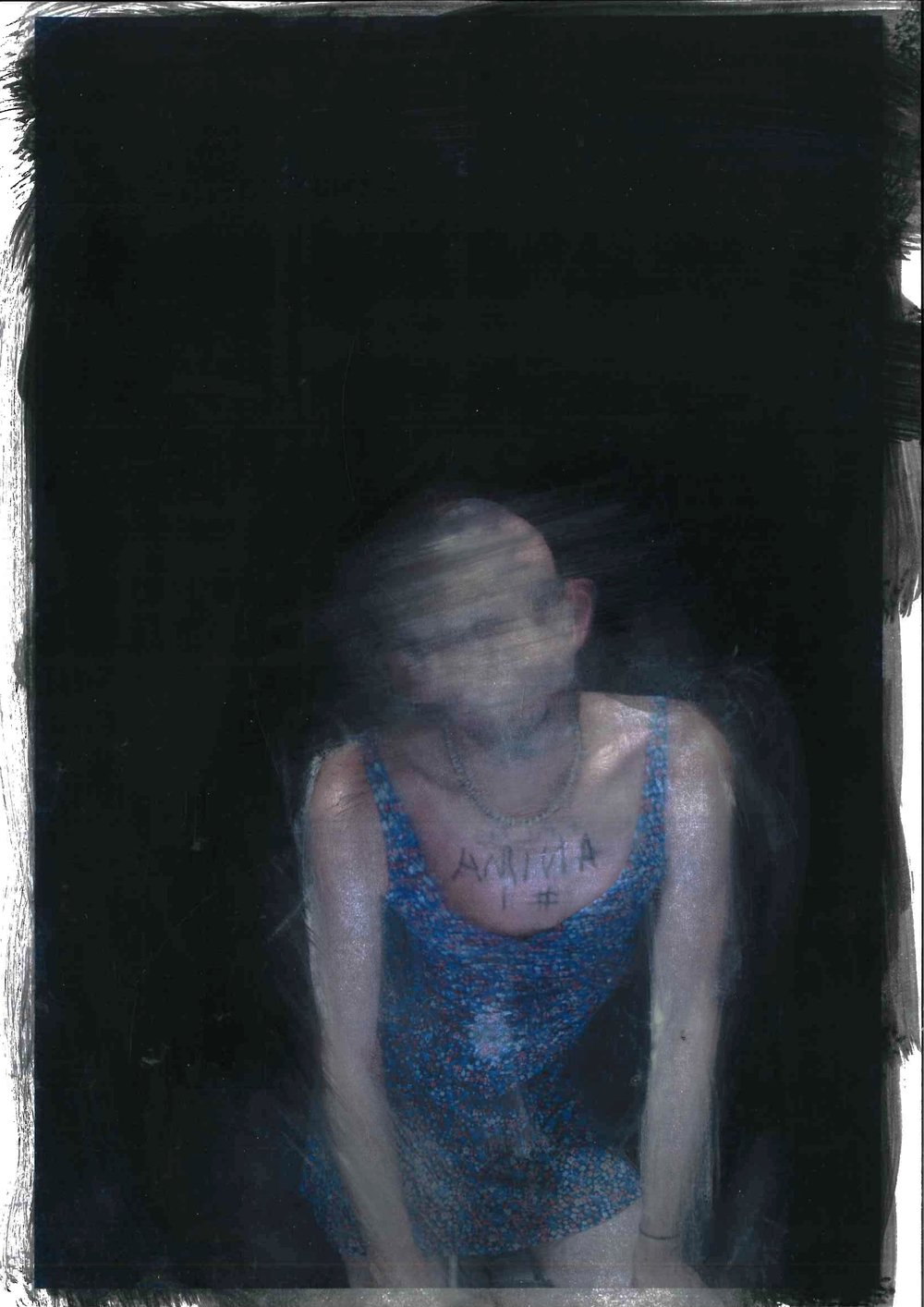 Study For False Anima 1:7, oil on paper with photographic element