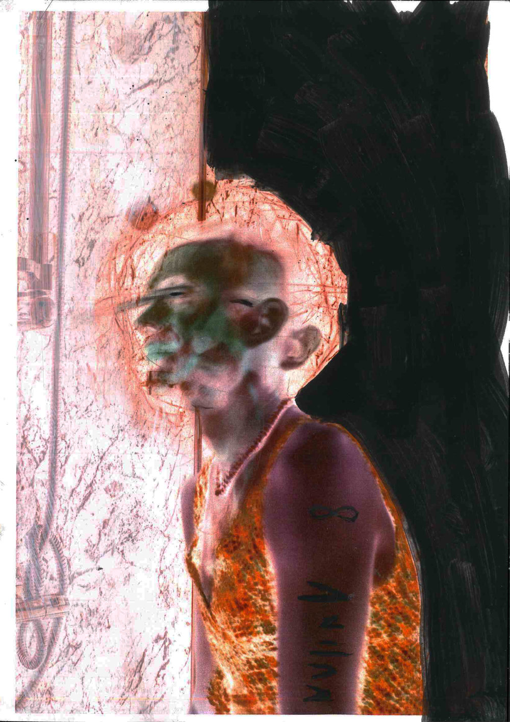 Study For False Anima 2:1, oil on paper qith photographiv element