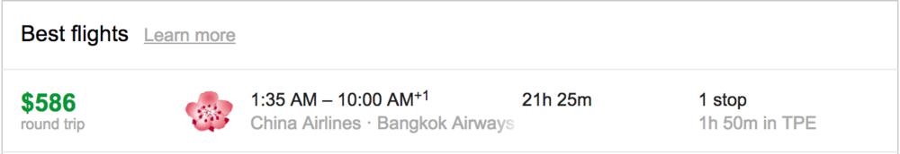 New York (JFK) to Bangkok (BKK) for $586 Round Trip in September
