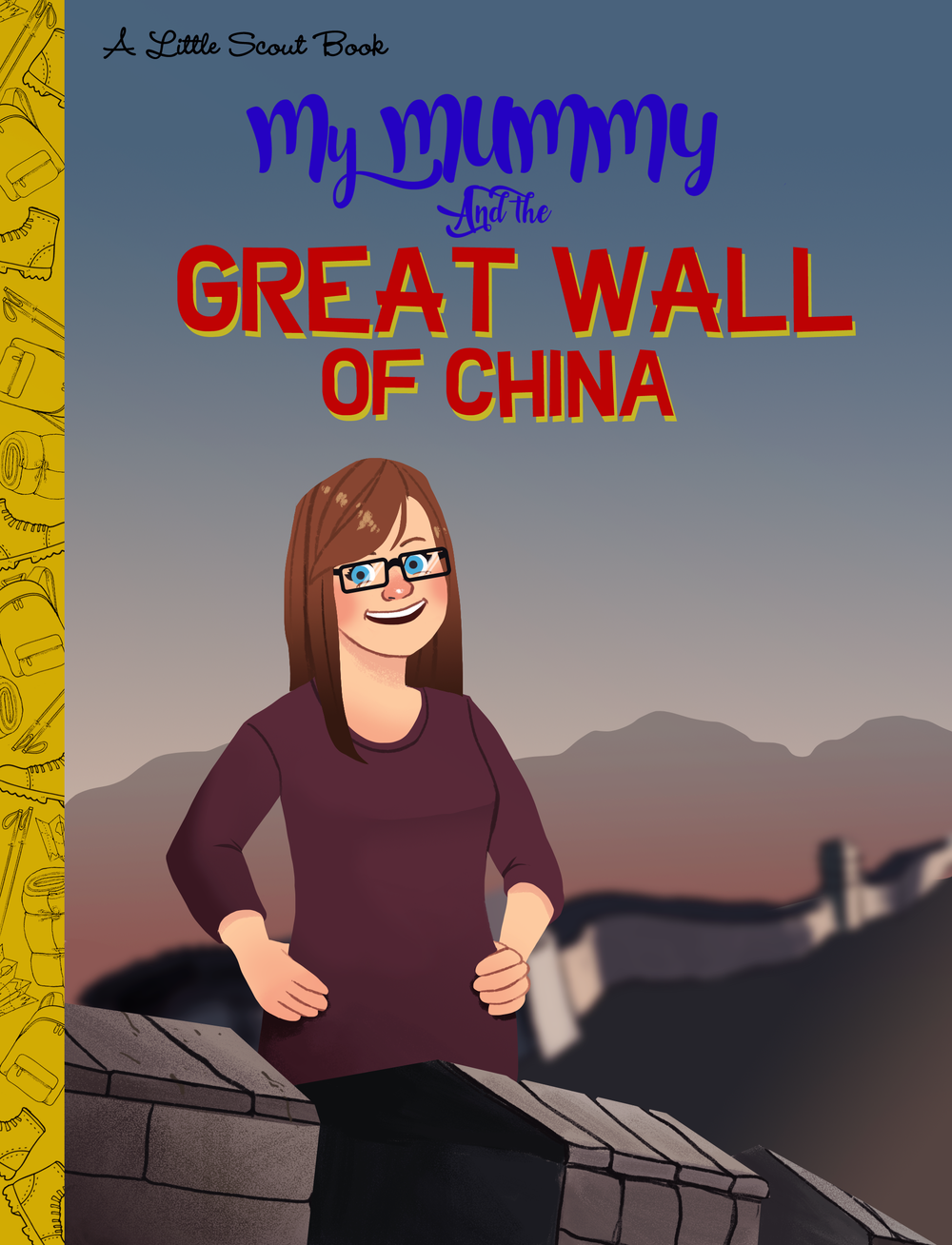 Client requested an illustration in the style of Quirk Books' Pop Classic Picture Books to celebrate his wife's charity walk across the Great Wall of China.   Adobe Photoshop