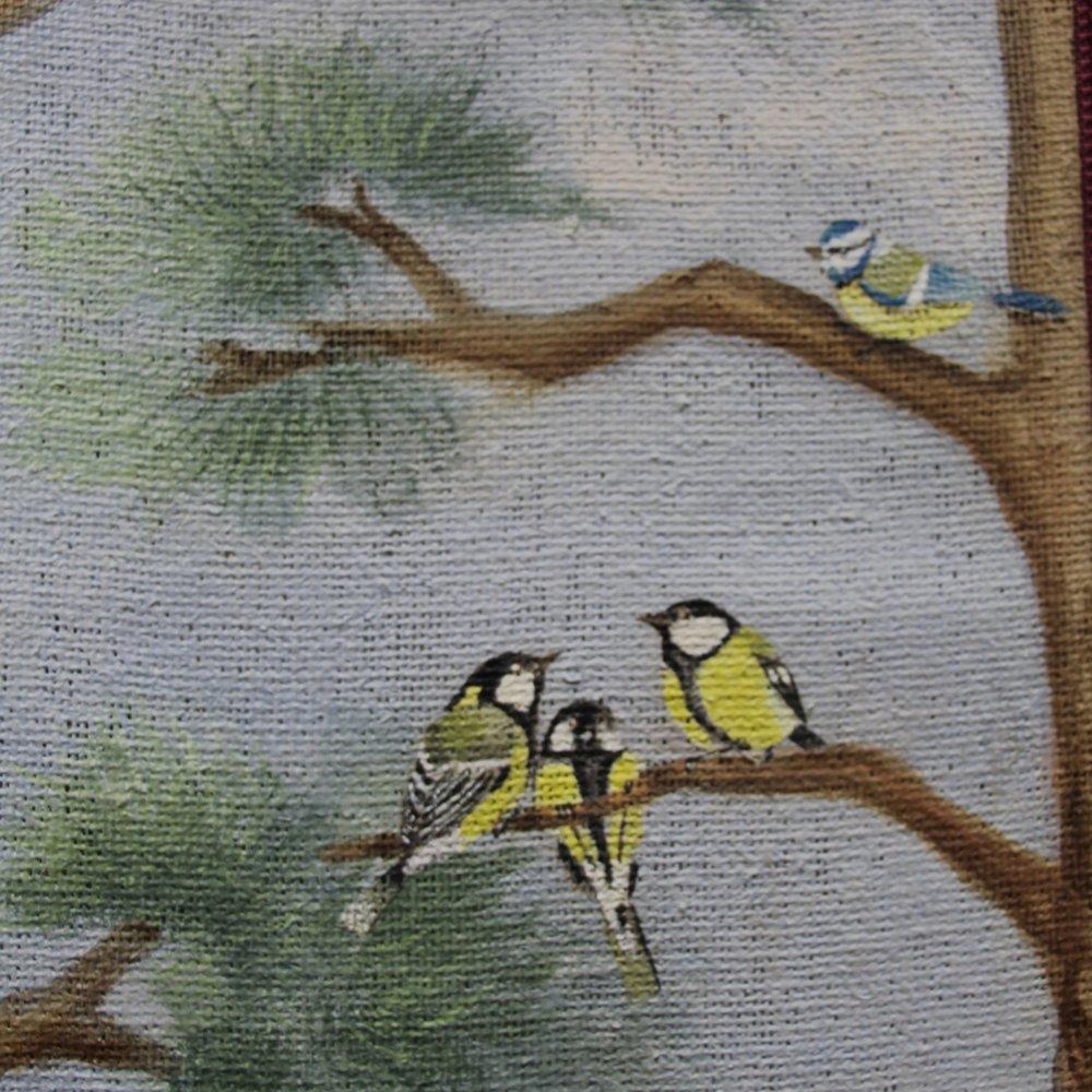 Tall och fåglar på juteväv -