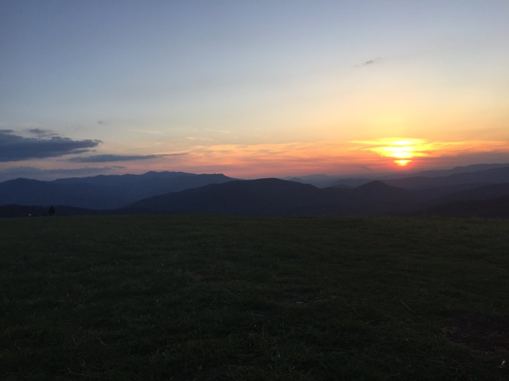 Max Patch. Smokies to the left, Sunset to the right