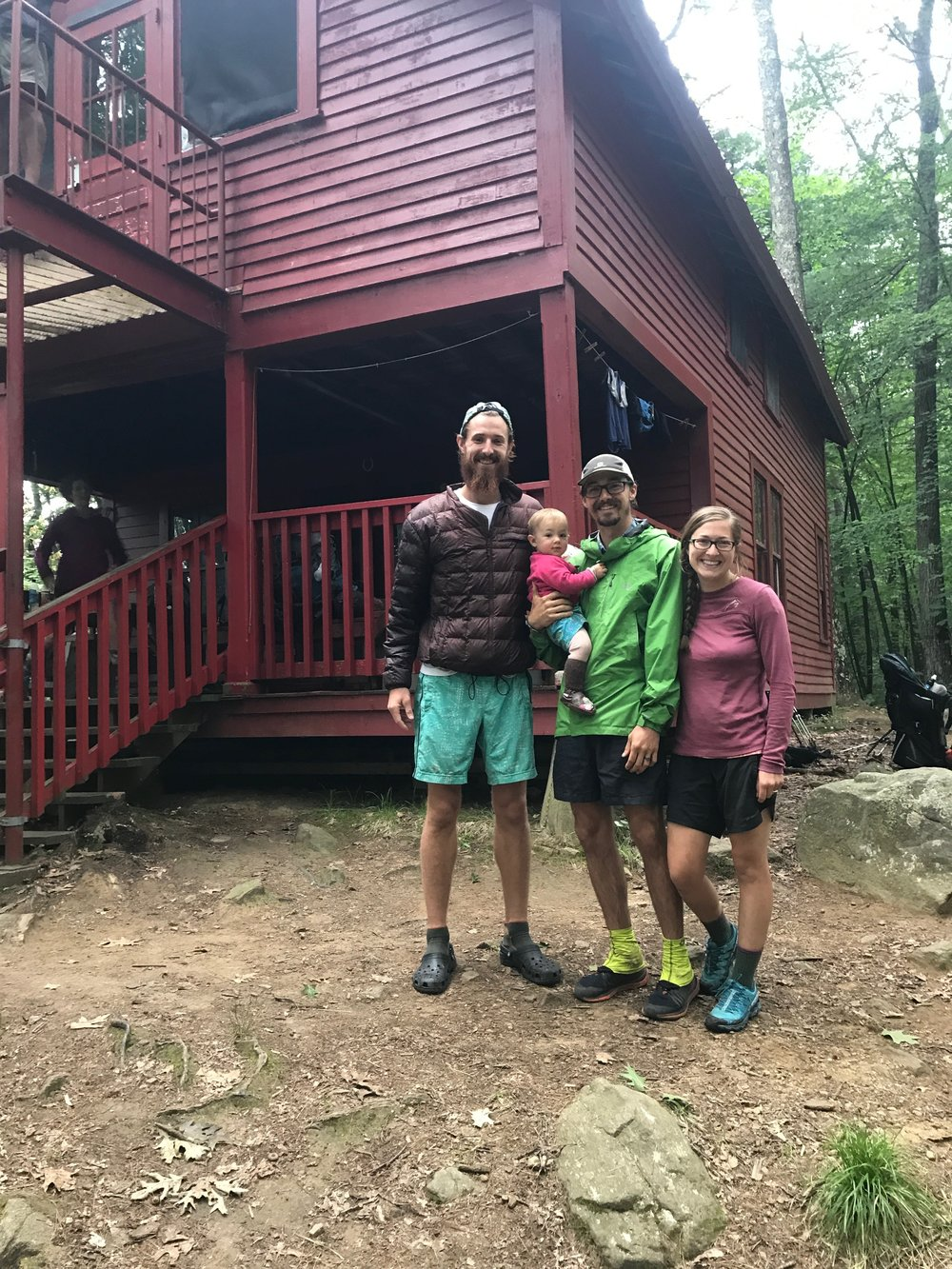 Sherpa, Kanga, Roo, and I outside of Upper Goose Pond Cabin