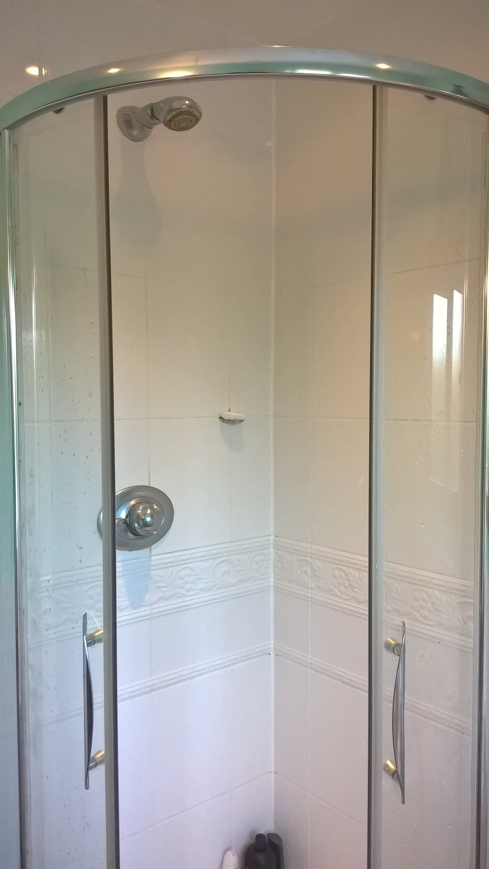 shower in main bathroom (upstairs)