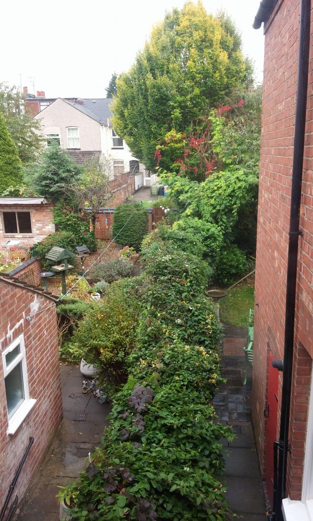 View of gardens from bedroom window