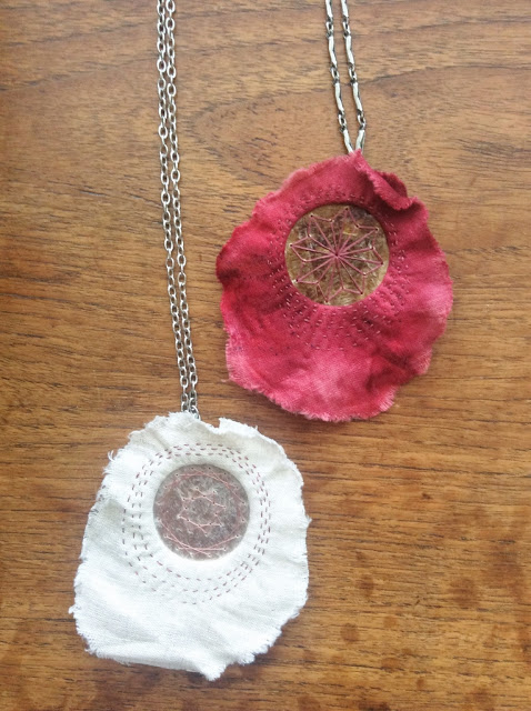 mixed media textile necklace with embroidered poetry and freshwater pearls - paperiaarre.com