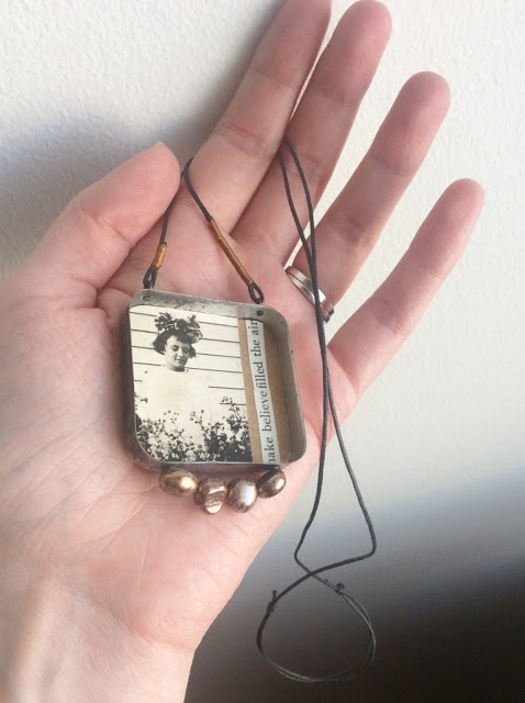 mixed media necklace made with vintage photo and tin - paperiaarre.com