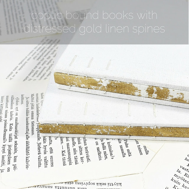 coptic bouond books with distressed gold linen spines - Kaija Rantakari / paperiaarre.com