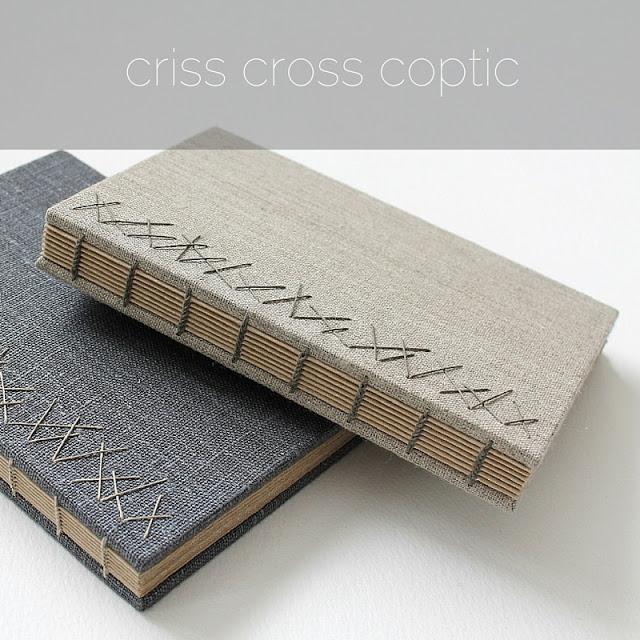 Criss cross Coptic binding by Kaija Rantakari / paperiaarre.com