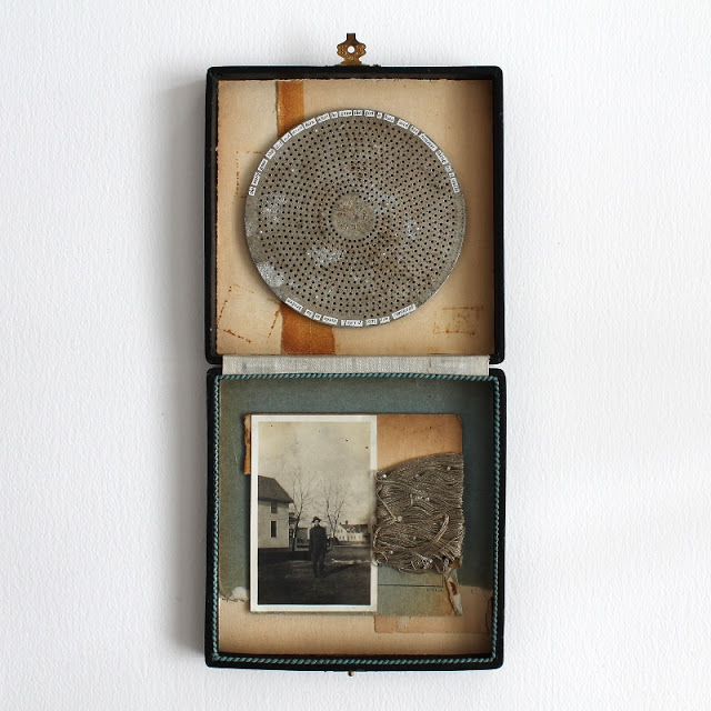 Promises are like pies, made to be broken - a mixed media assemblage by Kaija Rantakari / paperiaarre.com