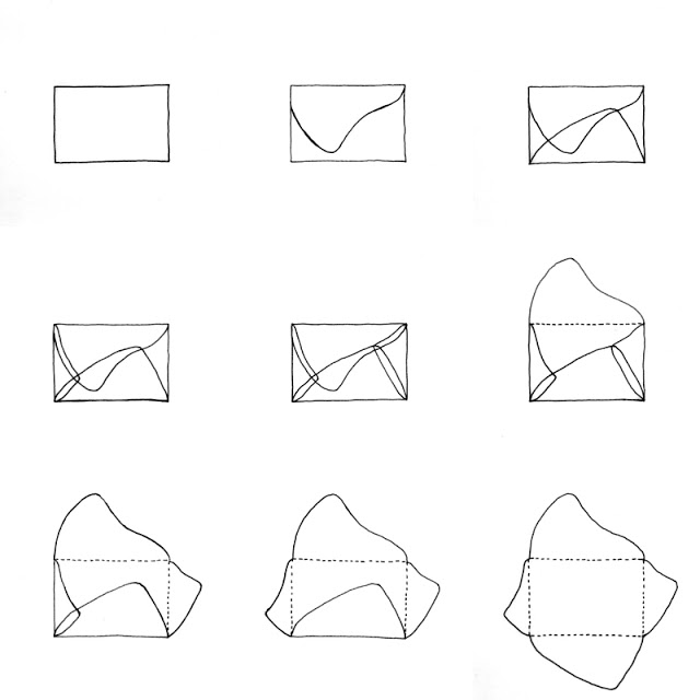 diy: mixed paper envelopes - illustration of the stages of drawing an asymmetrical envelope template / paperiaarre.com