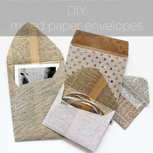 diy: mixed paper envelopes - paperiaarre.com