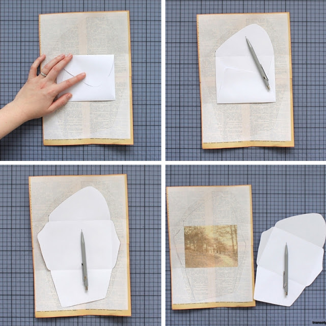diy: mixed paper envelopes - tracing the envelope template / paperiaarre.com