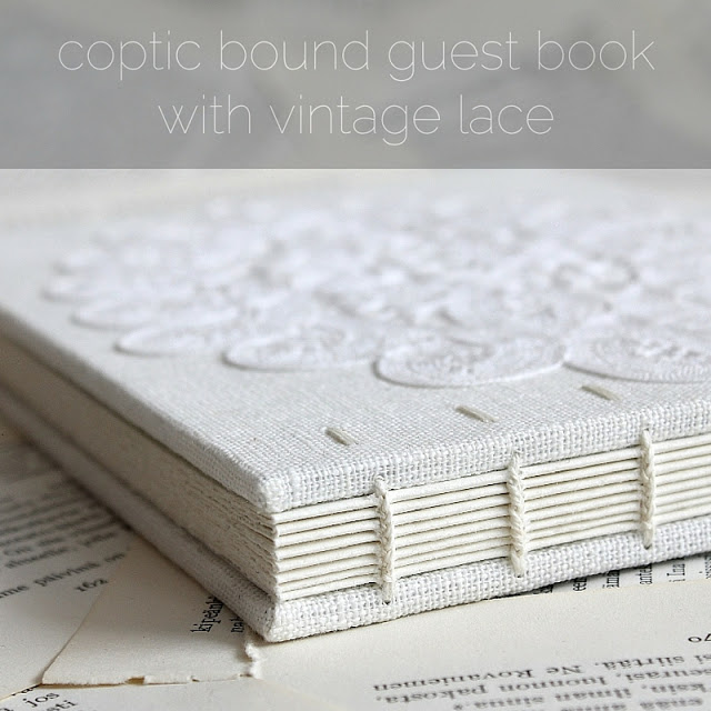 coptic bound guest book with vintage lace by Kaija Rantakari / paperiaarre.com