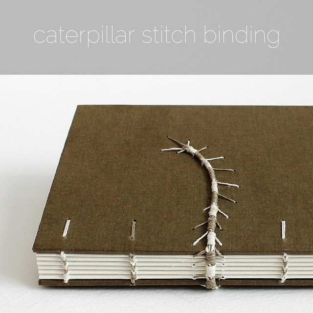 caterpillar stitch and coptic binding by Kaija Rantakari / paperiaarre.com