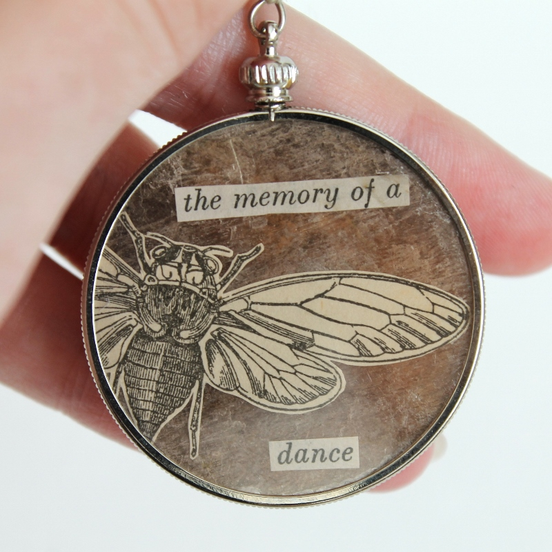 the memory of a dance - mixed media brooch by Kaija Rantakari / paperiaarre.com