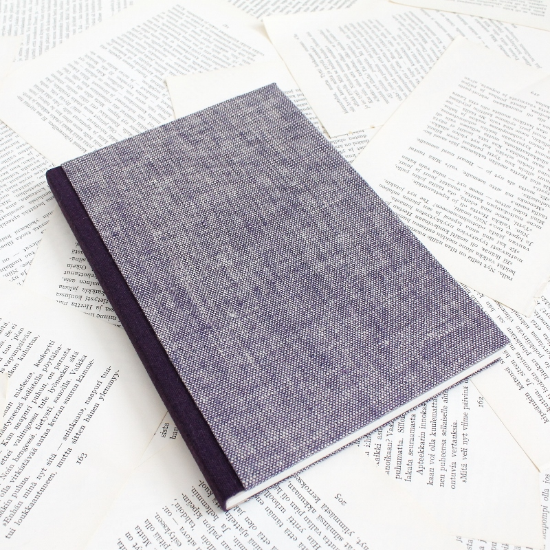 bullet journal with purple linen covers - sewn boards binding by Kaija Rantakari / paperiaarre.com
