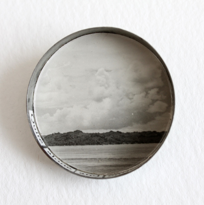 Quite alone and entirely beautiful - a mixed media brooch by Kaija Rantakari / paperiaarre.com