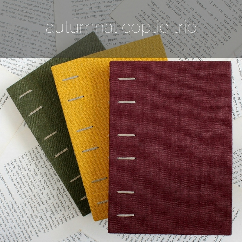 autumnal coptic bound notebook trio by Kaija Rantakari / paperiaarre.com