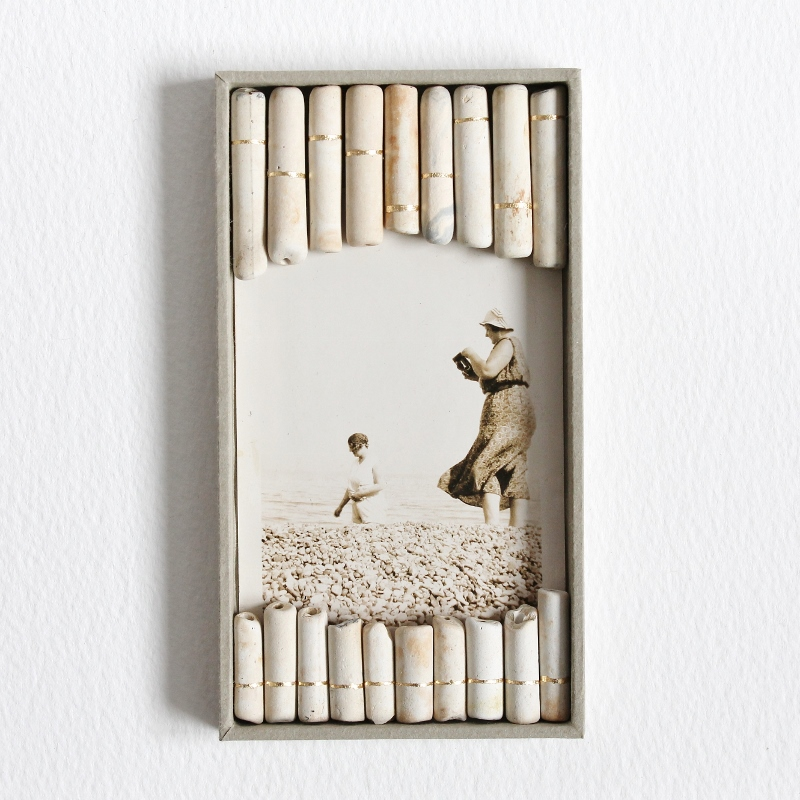 On the Shore - a mixed media collage by Kaija Rantakari, 2016 / vintage photo, found antique clay pipe stems, gold leaf, paper, board, vintage ribbon / www.paperiaarre.com