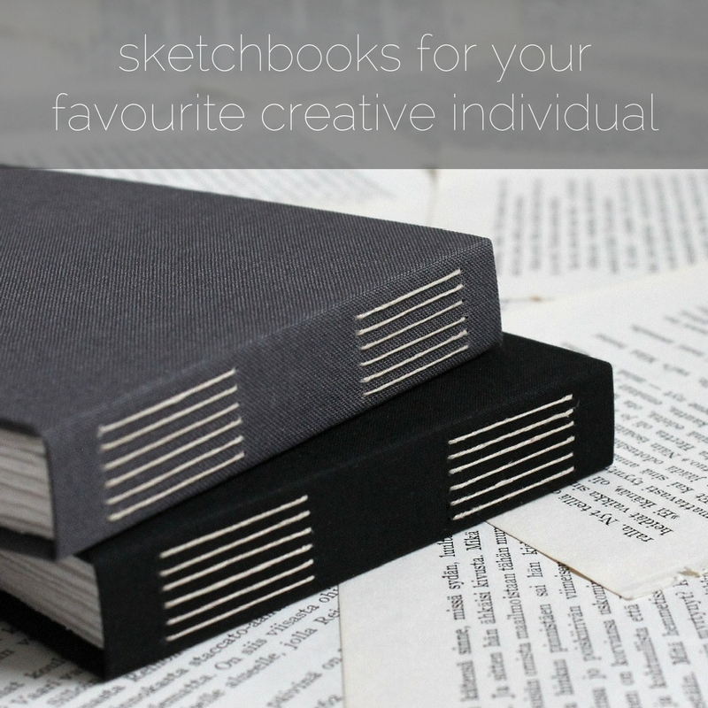 long stitch sketchbooks with watercolour paper pages, handmade by Kaija Rantakari / www.paperiaarre.com