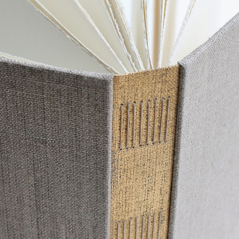 handmade long stitch photo album with distressed gold spine and natural linen covers by Kaija Rantakari / www.paperiaarre.com