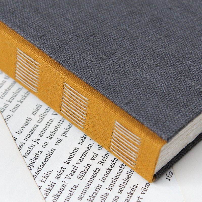 long stitch photo album with grey and yellow linen covers, handmade by Kaija Rantakari - www.paperiaarre.com