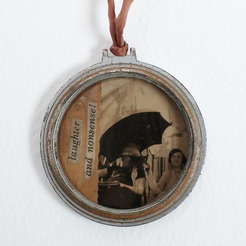mixed media watch case pendants by Kaija Rantakari, 2016 - www.paperiaarre.com