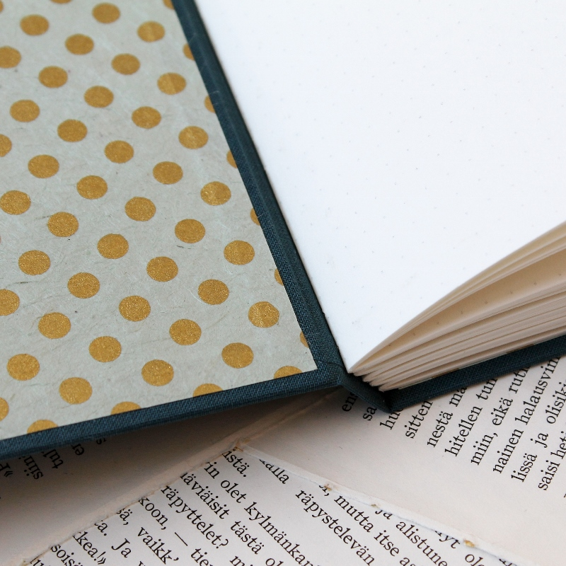 handmade blue longstitch bullet journals by Kaija Rantakari / www.paperiaarre.com