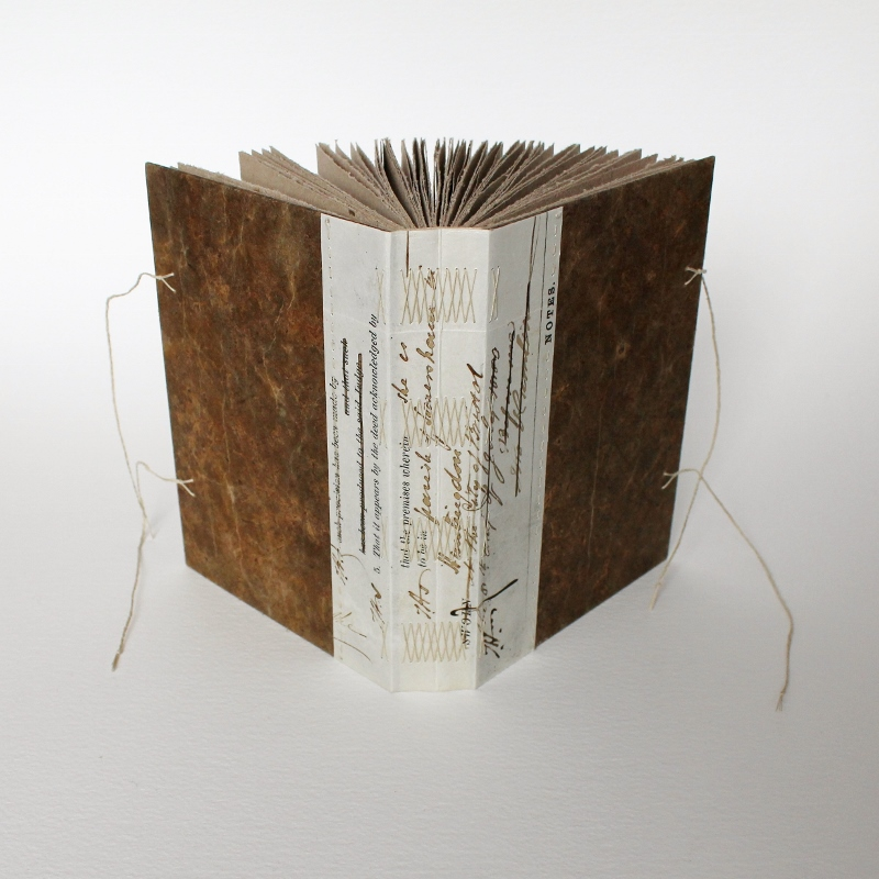 long stitch notebook with antique vellum document spine, handmade by Kaija Rantakari, 2017 / www.paperiaarre.com