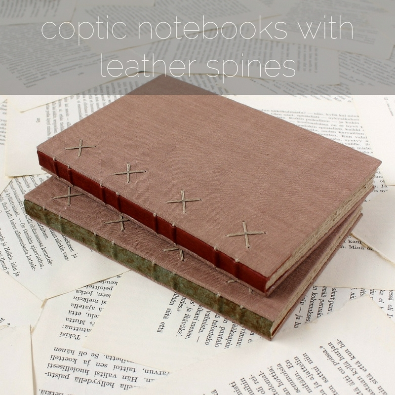 coptic notebooks with leather spines, handmade by Kaija Rantakari / www.paperiaarre.com