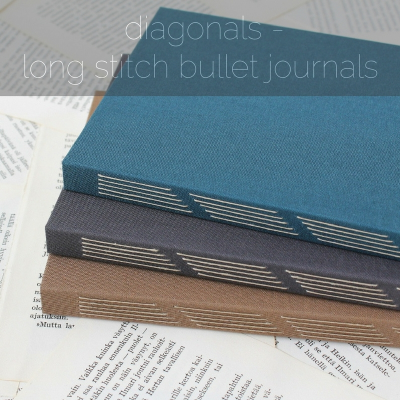 diagonals - long stitch bullet journals by Kaija Rantakari / www.paperiaarre.com