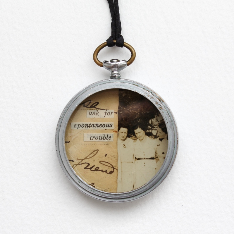 mixed media collage watch case pendant necklace by Kaija Rantakari, 2017 / www.paperiaarre.com