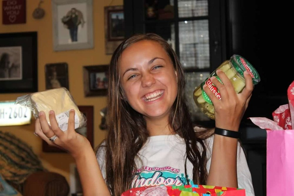 Our pickle-loving girl - yes, that was a birthday present from her BFF
