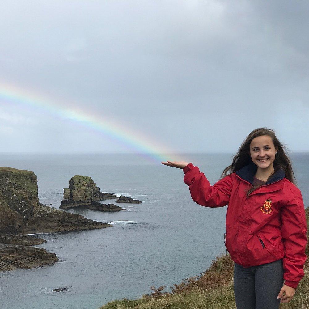 Brianna catching rainbow