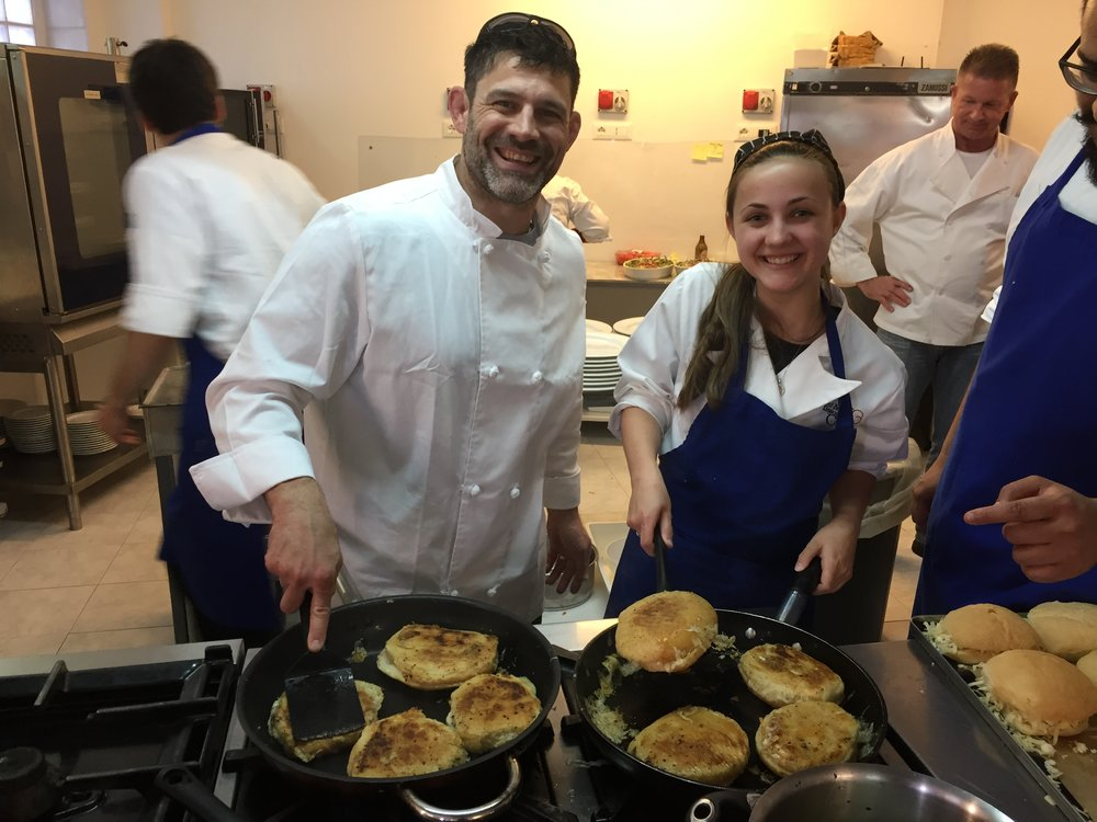 Bill & Brianna cooking at the Italian Culinary Institute