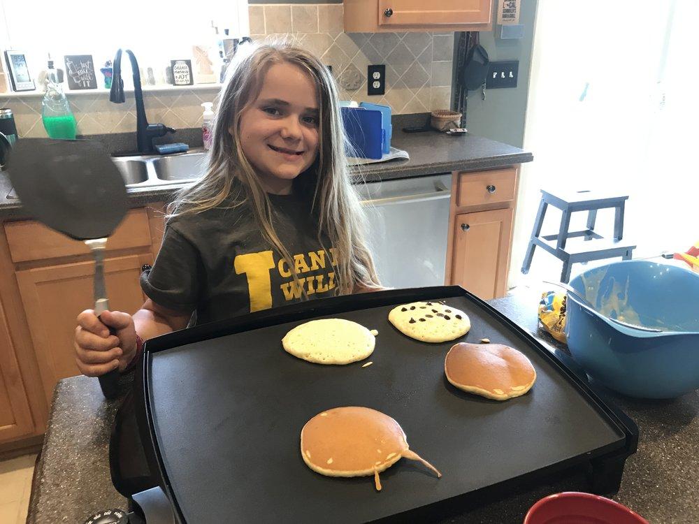Alyssa making pancakes