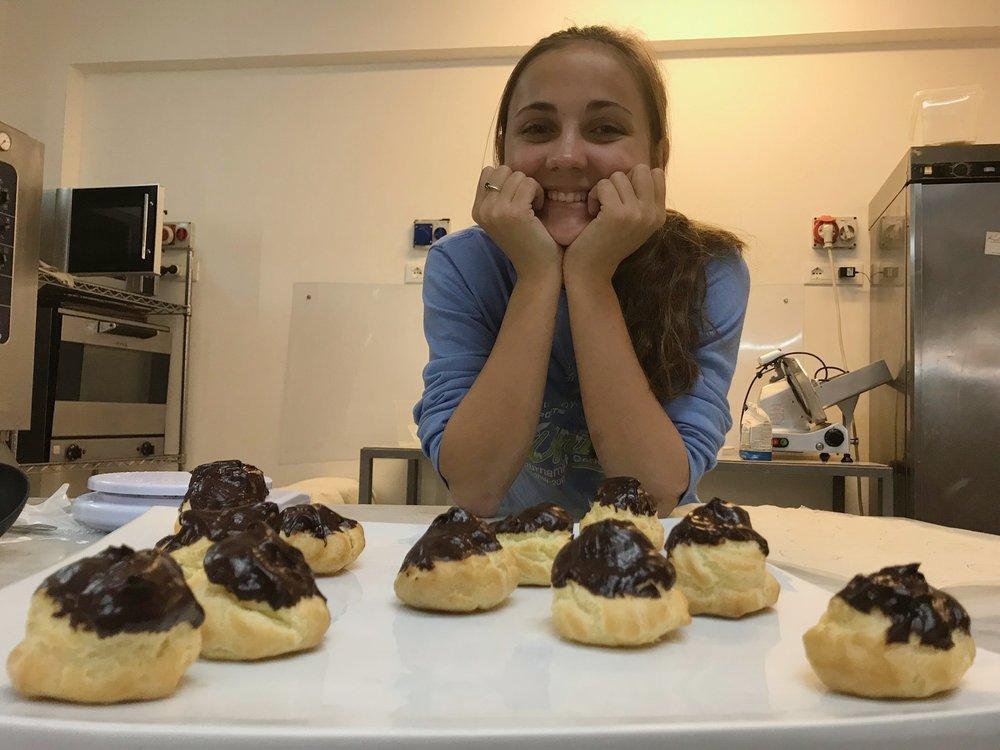 B and her homemade cream puffs