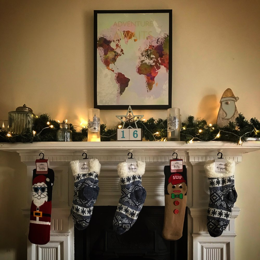 Our socks were hung by the chimney with care