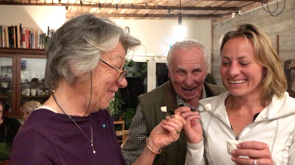 Sue, Dave & Delia about to try fermented shark in Iceland. Bill brought it for everyone to try from the  Shark Museum in Iceland.