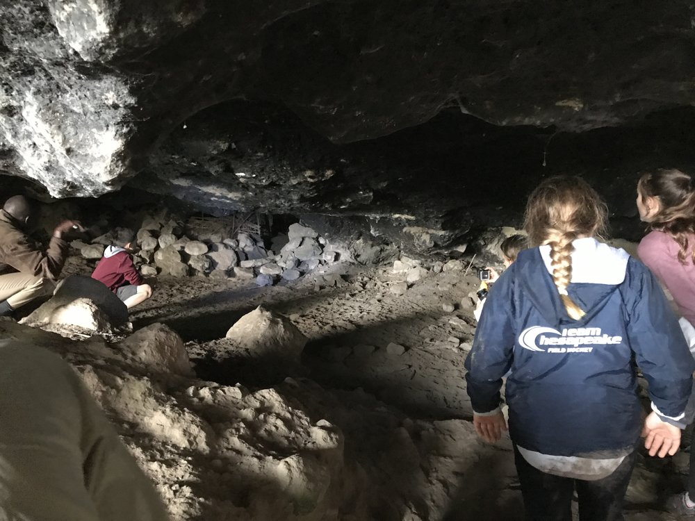 Looking into the cave