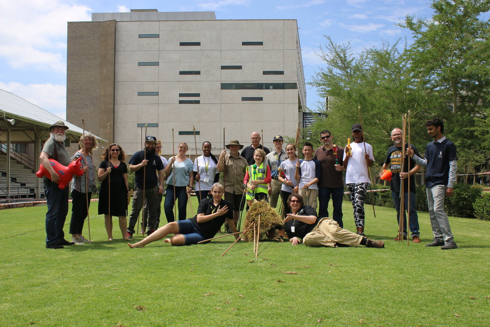 We all successfully got the grassy antelope with our various primitive weapons at the 1st Experimental Archaeology Conference in Africa!