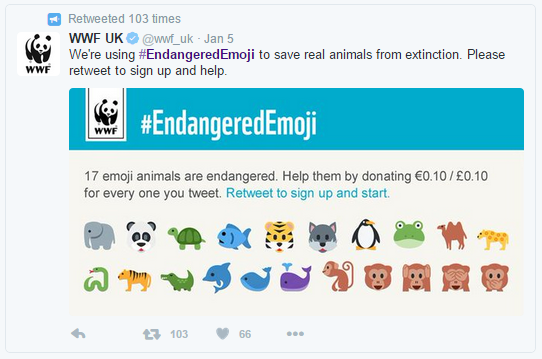 WWF uses emoji to engage audiences and inspire philanthropy.