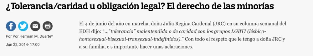 Columna originalmente publicada en El Diario de Hoy:http://www.elsalvador.com/opinion/editoriales/129793/toleranciacaridad-u-obligacion-legal-el-derecho-de-las-minorias/